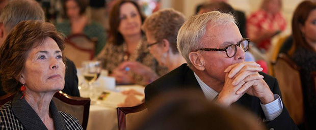 Tom Brokaw seated at table at Livingston Awards luncheon